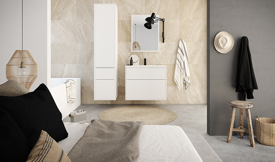 Varför inte välja en öppen planlösning mellan badrum och sovrum   Badrumsserien heter Modu. Bild från Kvik. e00a2e29efb5c
